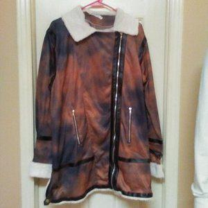 Misslook Sweat Jacket W/ Faux Fur & Zipper Pockets